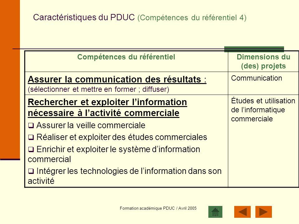 Formation académique PDUC / Avril 2005 Caractéristiques du PDUC (Compétences du référentiel 4) Compétences du référentielDimensions du (des) projets A