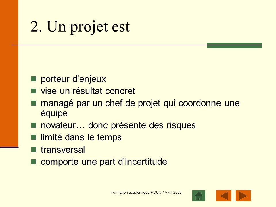 Formation académique PDUC / Avril 2005 2. Un projet est porteur denjeux porteur denjeux vise un résultat concret vise un résultat concret managé par u