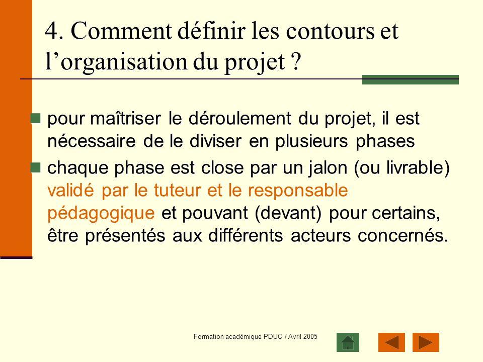 Formation académique PDUC / Avril 2005 4. Comment définir les contours et lorganisation du projet ? pour maîtriser le déroulement du projet, il est né