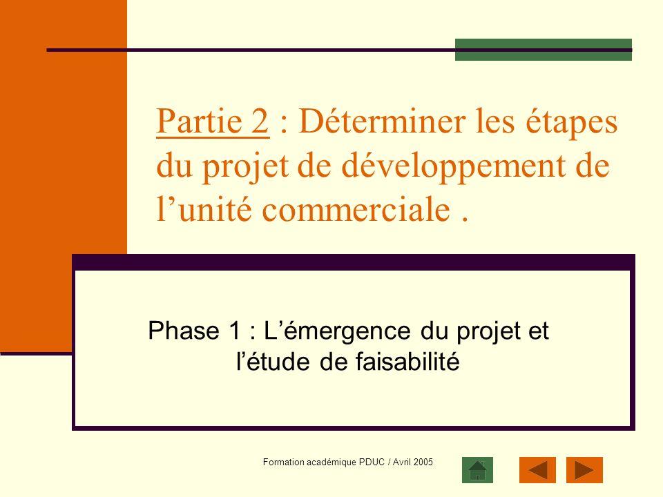 Formation académique PDUC / Avril 2005 Partie 2 : Déterminer les étapes du projet de développement de lunité commerciale. Phase 1 : Lémergence du proj
