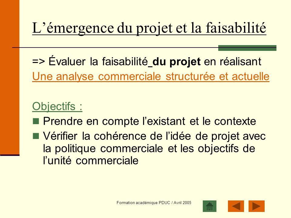 Formation académique PDUC / Avril 2005 Lémergence du projet et la faisabilité => Évaluer la faisabilité du projet en réalisant Une analyse commerciale