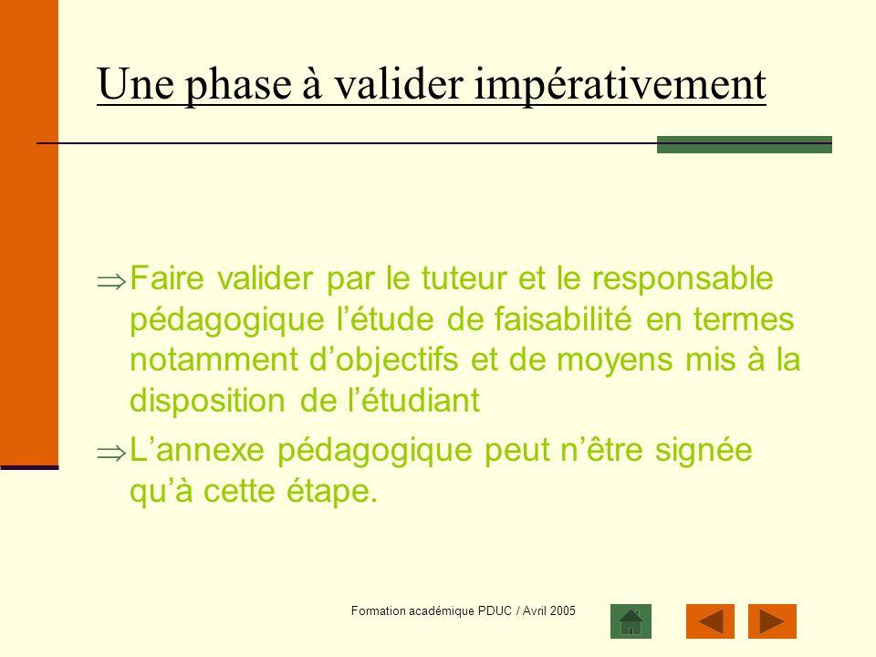 Formation académique PDUC / Avril 2005 Une phase à valider impérativement Faire valider par le tuteur et le responsable pédagogique létude de faisabil