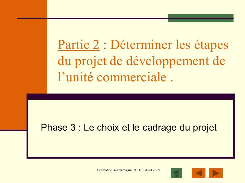Formation académique PDUC / Avril 2005 Partie 2 : Déterminer les étapes du projet de développement de lunité commerciale. Phase 3 : Le choix et le cad