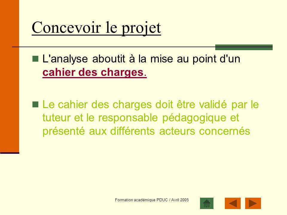 Formation académique PDUC / Avril 2005 Concevoir le projet L'analyse aboutit à la mise au point d'un cahier des charges. cahier des charges. Le cahier