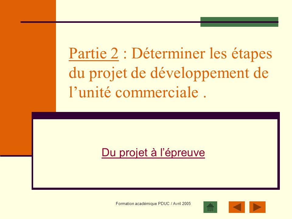 Formation académique PDUC / Avril 2005 Partie 2 : Déterminer les étapes du projet de développement de lunité commerciale. Du projet à lépreuve