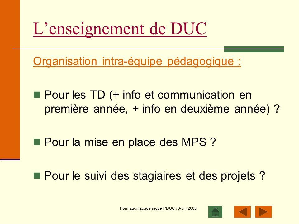 Formation académique PDUC / Avril 2005 Lenseignement de DUC Organisation intra-équipe pédagogique : Pour les TD (+ info et communication en première a