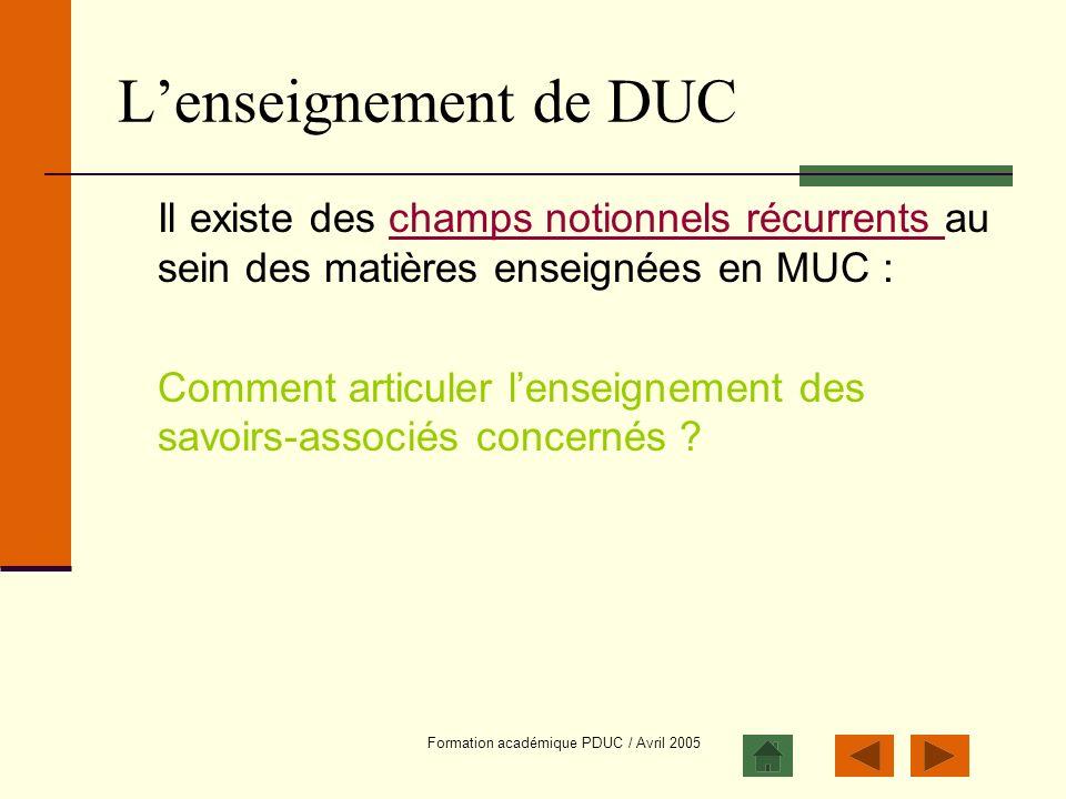 Formation académique PDUC / Avril 2005 Lenseignement de DUC Il existe des champs notionnels récurrents au sein des matières enseignées en MUC :champs