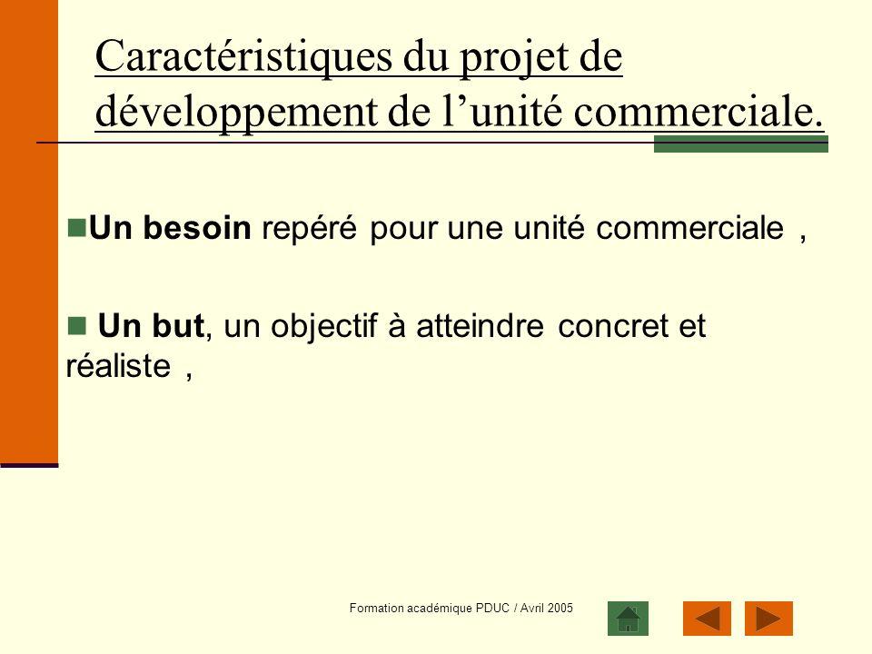 Formation académique PDUC / Avril 2005 Caractéristiques du projet de développement de lunité commerciale. Un besoin repéré pour une unité commerciale,