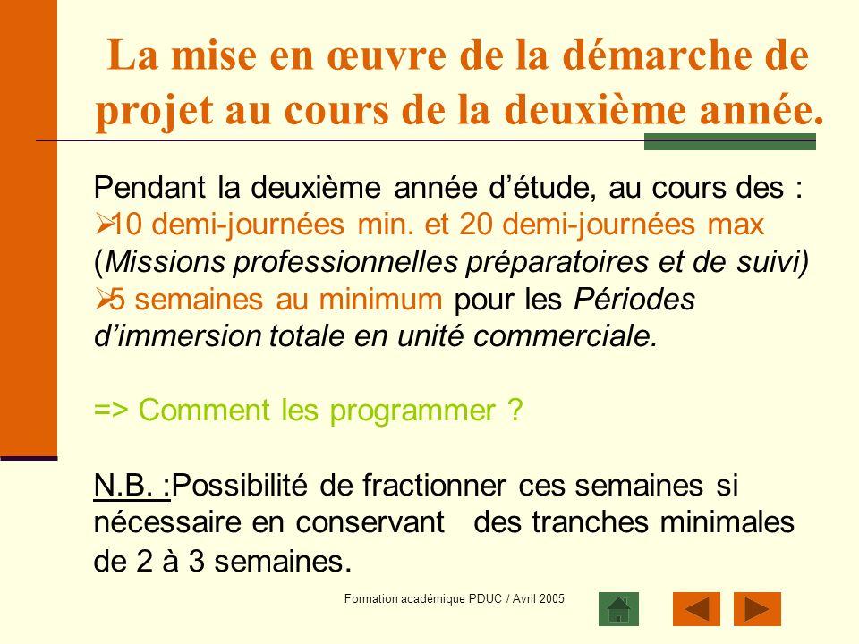 Formation académique PDUC / Avril 2005 La mise en œuvre de la démarche de projet au cours de la deuxième année. Pendant la deuxième année détude, au c