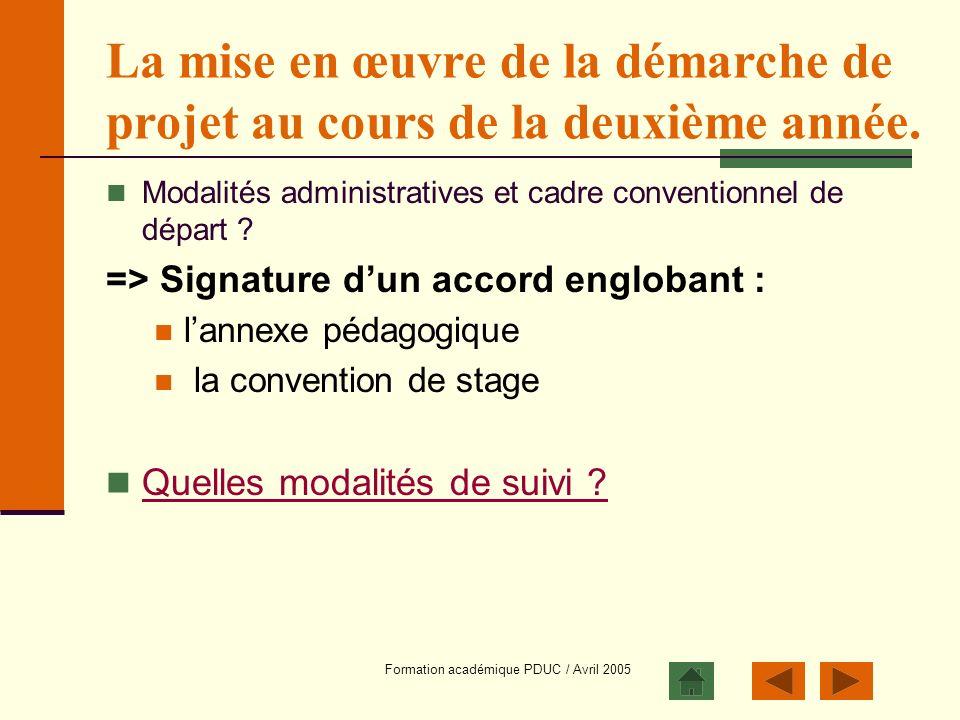 Formation académique PDUC / Avril 2005 La mise en œuvre de la démarche de projet au cours de la deuxième année. Modalités administratives et cadre con