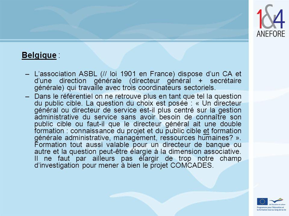 Belgique : –Lassociation ASBL (// loi 1901 en France) dispose dun CA et dune direction générale (directeur général + secrétaire générale) qui travaill