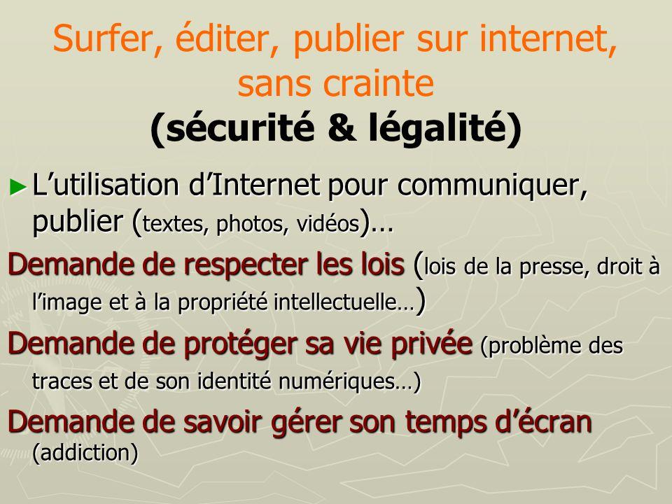Surfer, éditer, publier sur internet, sans crainte (sécurité & légalité) Lutilisation dInternet pour communiquer, publier ( textes, photos, vidéos )…