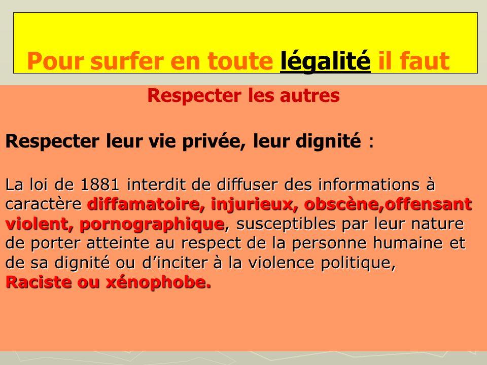 Pour surfer en toute légalité il faut Respecter les autres Respecter leur vie privée, leur dignité : La loi de 1881 interdit de diffuser des informati