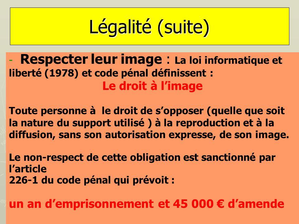 Légalité (suite) - - Respecter leur image : La loi informatique et liberté (1978) et code pénal définissent : Le droit à limage Toute personne à le dr