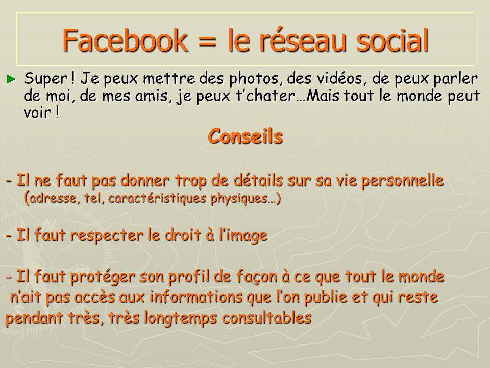 Facebook = le réseau social Super ! Je peux mettre des photos, des vidéos, de peux parler de moi, de mes amis, je peux tchater…Mais tout le monde peut