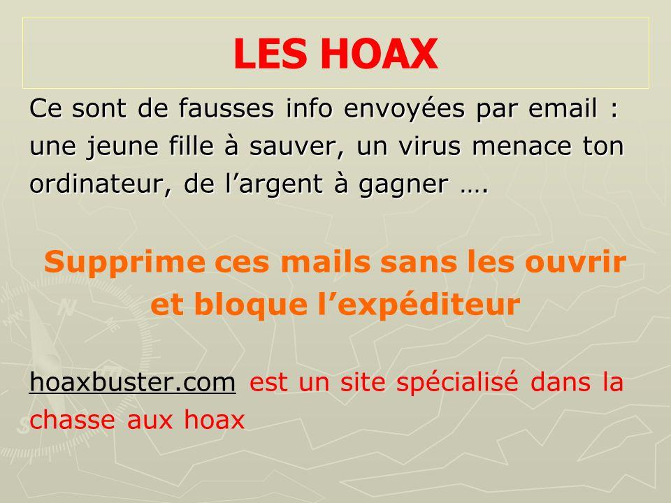 LES HOAX Ce sont de fausses info envoyées par email : une jeune fille à sauver, un virus menace ton ordinateur, de largent à gagner …. Supprime ces ma