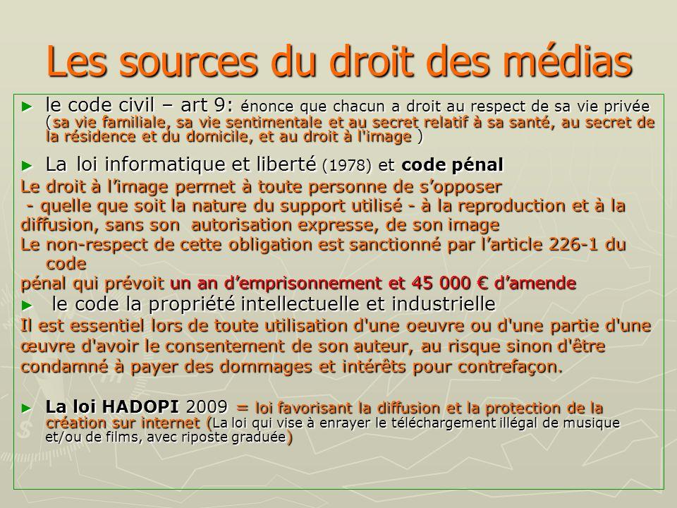 Les sources du droit des médias le code civil – art 9: énonce que chacun a droit au respect de sa vie privée (sa vie familiale, sa vie sentimentale et