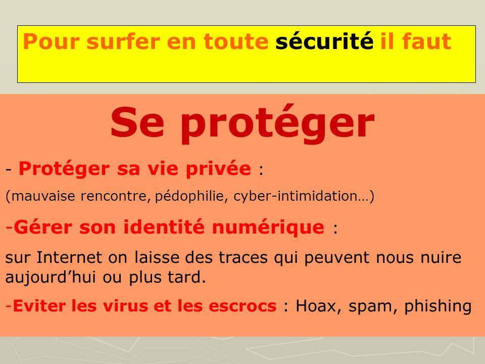 Pour surfer en toute sécurité il faut Se protéger - Protéger sa vie privée : (mauvaise rencontre, pédophilie, cyber-intimidation…) -Gérer son identité
