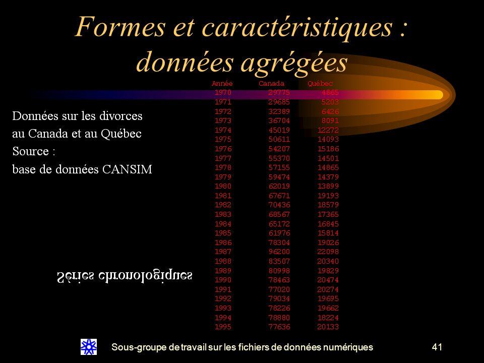 Sous-groupe de travail sur les fichiers de données numériques41 Formes et caractéristiques : données agrégées