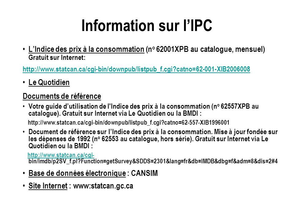 Information sur lIPC LIndice des prix à la consommation (n o 62001XPB au catalogue, mensuel) Gratuit sur Internet: http://www.statcan.ca/cgi-bin/dow