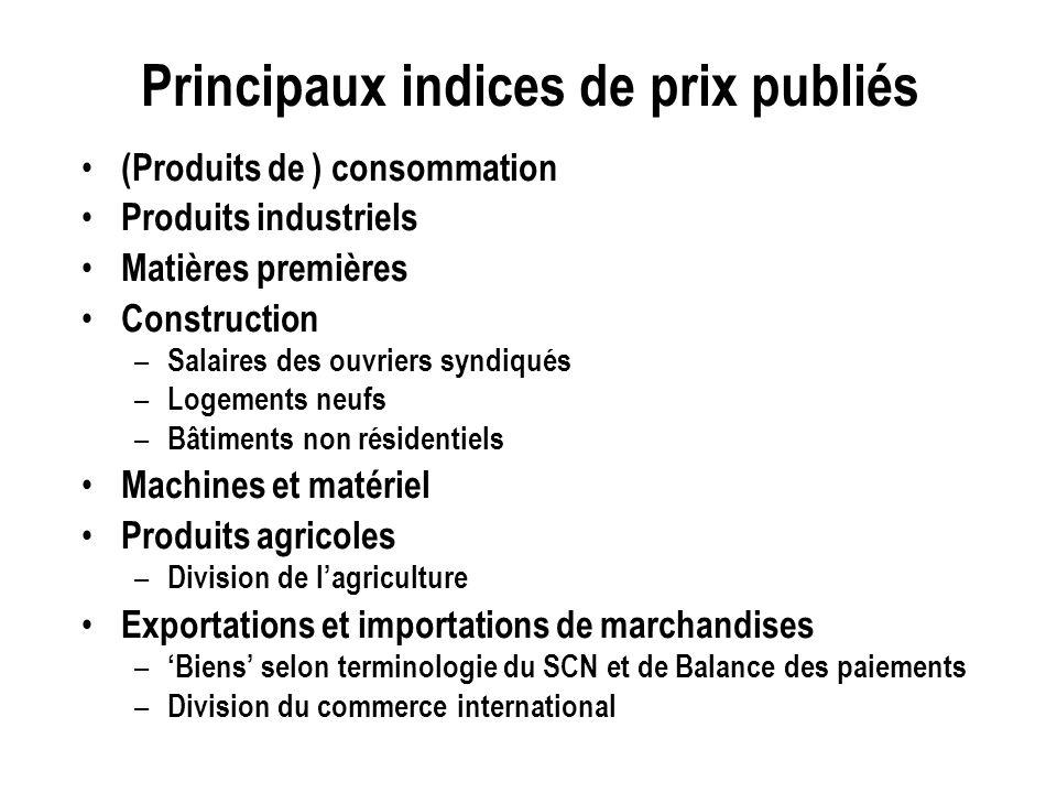 Principaux indices de prix publiés (Produits de ) consommation Produits industriels Matières premières Construction – Salaires des ouvriers syndiqués