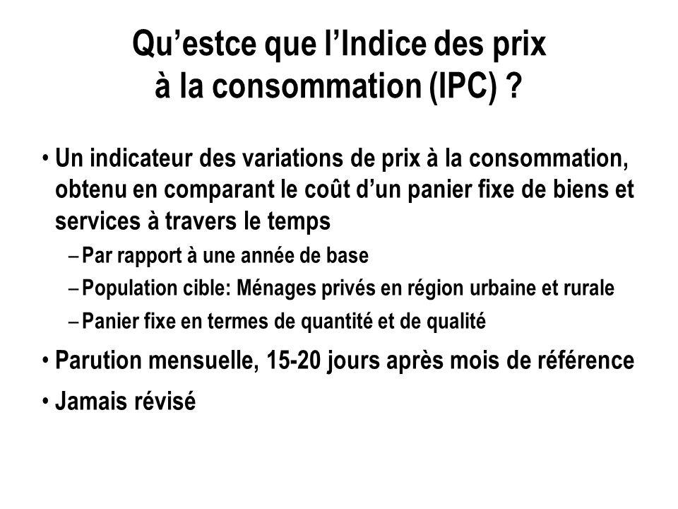 Questce que lIndice des prix à la consommation (IPC) ? Un indicateur des variations de prix à la consommation, obtenu en comparant le coût dun panier