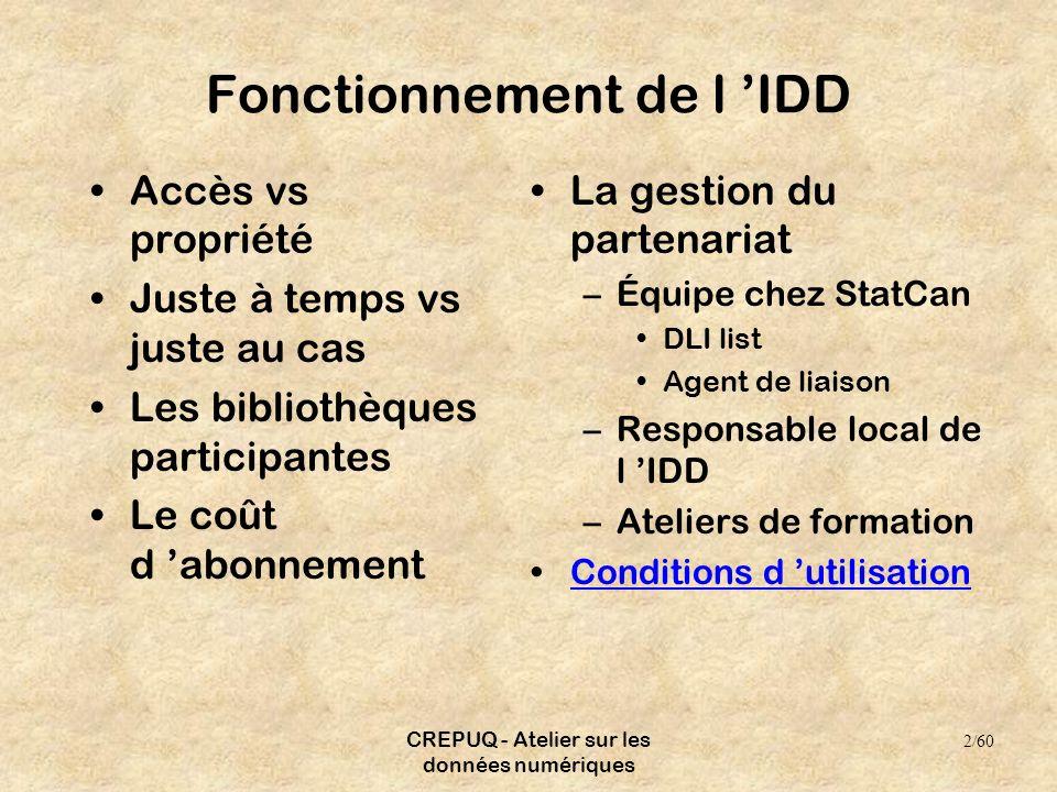 CREPUQ - Atelier sur les données numériques Fonctionnement de l IDD Accès vs propriété Juste à temps vs juste au cas Les bibliothèques participantes L
