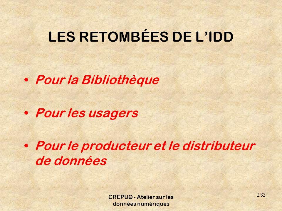 CREPUQ - Atelier sur les données numériques LES RETOMBÉES DE LIDD Pour la Bibliothèque Pour les usagers Pour le producteur et le distributeur de données 2/62