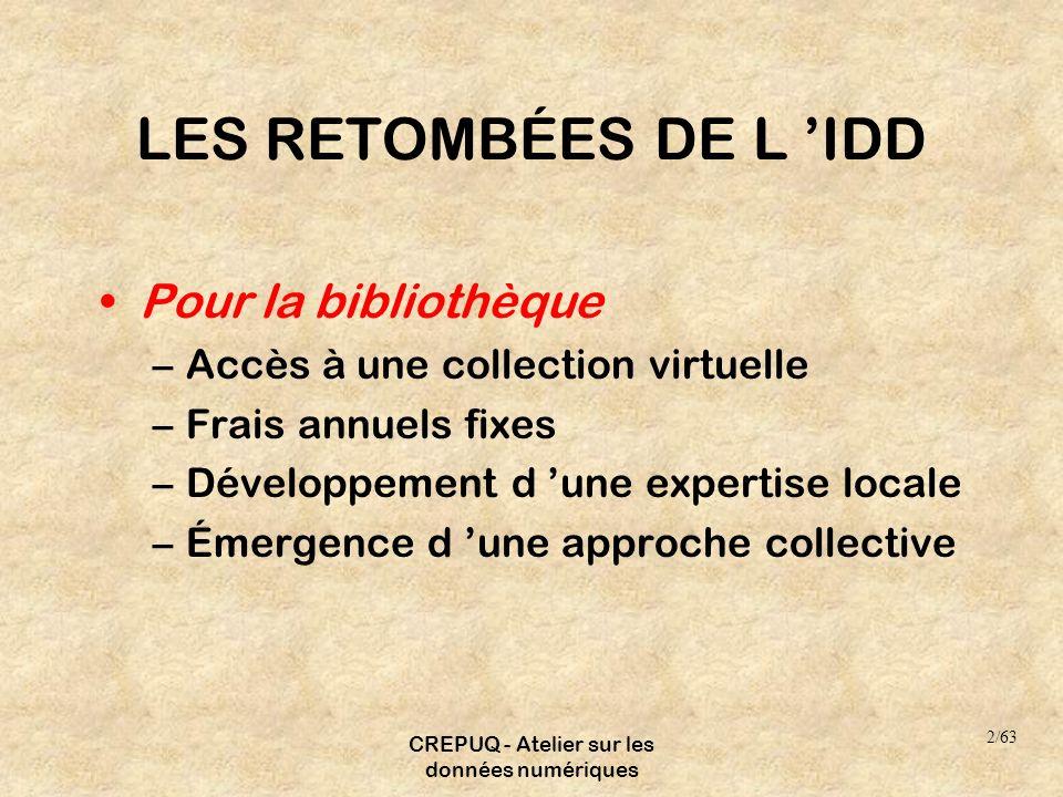 CREPUQ - Atelier sur les données numériques LES RETOMBÉES DE L IDD Pour la bibliothèque –Accès à une collection virtuelle –Frais annuels fixes –Dévelo