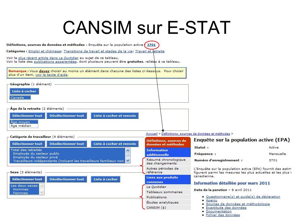 CANSIM sur E-STAT