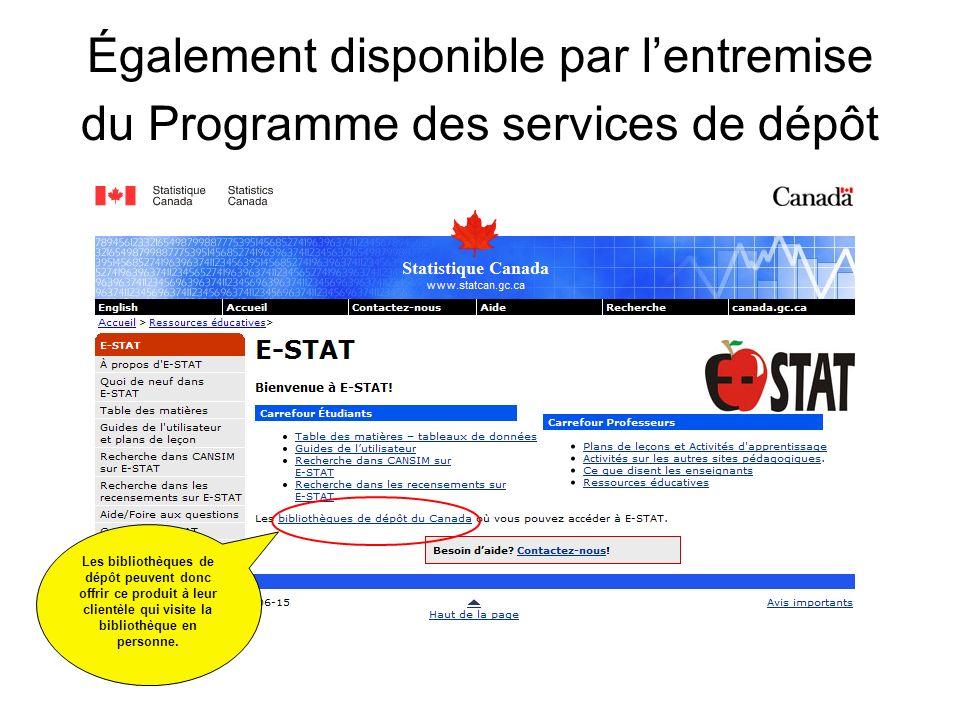 CANSIM sur E-STAT Pour obtenir les données des séries chronologiques, regardez dabord ici.