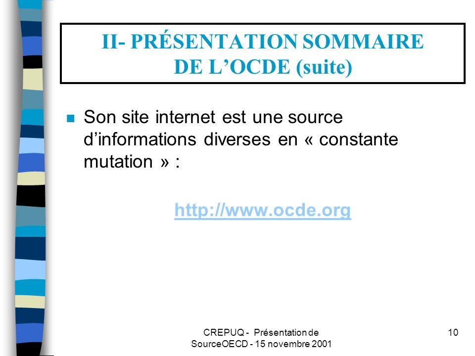 CREPUQ - Présentation de SourceOECD - 15 novembre 2001 10 II- PRÉSENTATION SOMMAIRE DE LOCDE (suite) n Son site internet est une source dinformations diverses en « constante mutation » : http://www.ocde.org