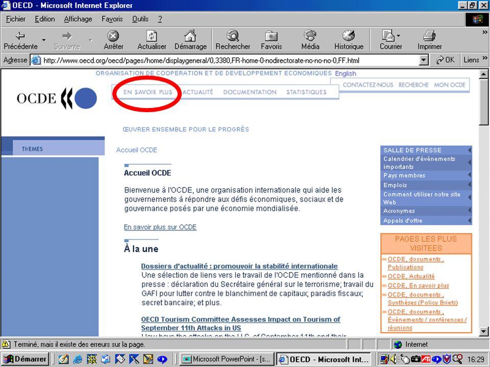 CREPUQ - Présentation de SourceOECD - 15 novembre 2001 11