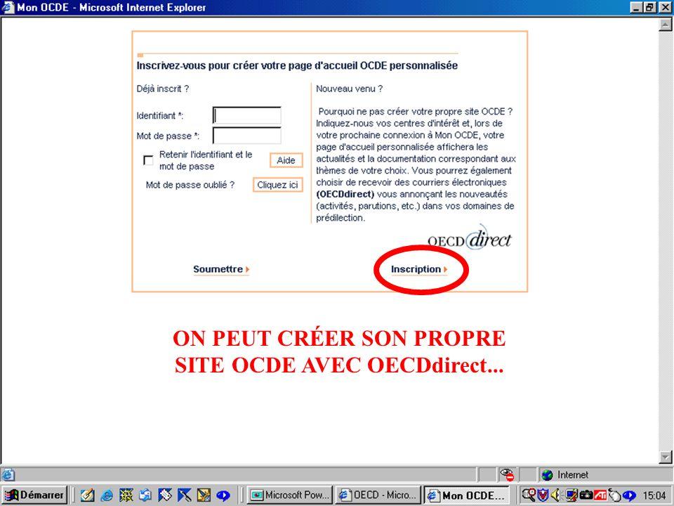 CREPUQ - Présentation de SourceOECD - 15 novembre 2001 14 ON PEUT CRÉER SON PROPRE SITE OCDE AVEC OECDdirect...