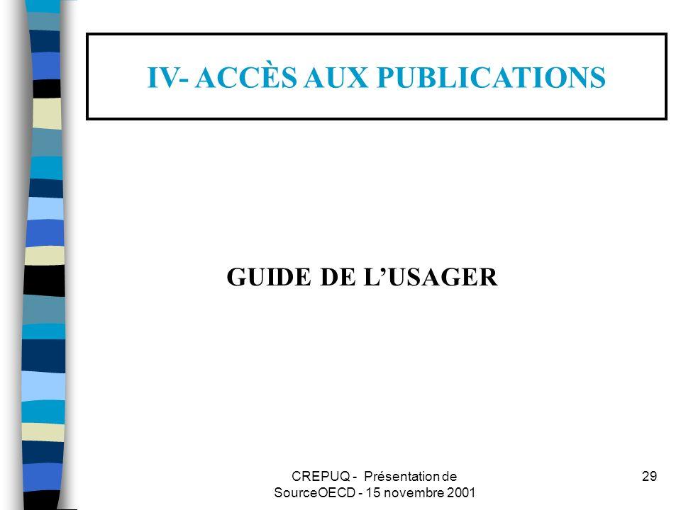 CREPUQ - Présentation de SourceOECD - 15 novembre 2001 29 IV- ACCÈS AUX PUBLICATIONS GUIDE DE LUSAGER