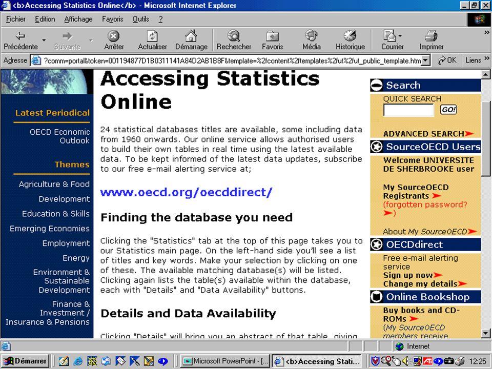 CREPUQ - Présentation de SourceOECD - 15 novembre 2001 31