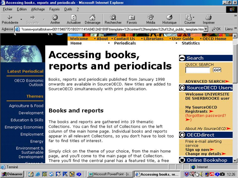 CREPUQ - Présentation de SourceOECD - 15 novembre 2001 32
