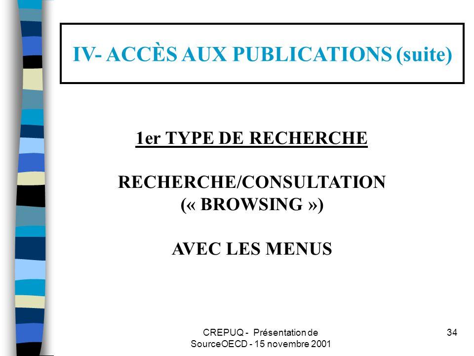 CREPUQ - Présentation de SourceOECD - 15 novembre 2001 34 IV- ACCÈS AUX PUBLICATIONS (suite) 1er TYPE DE RECHERCHE RECHERCHE/CONSULTATION (« BROWSING ») AVEC LES MENUS