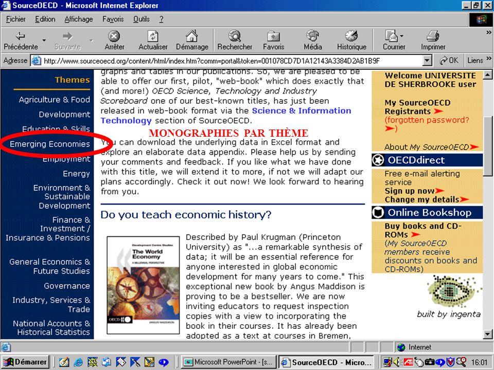 CREPUQ - Présentation de SourceOECD - 15 novembre 2001 35 MONOGRAPHIES PAR THÈME