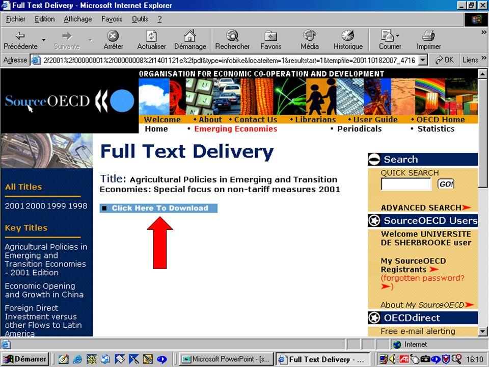 CREPUQ - Présentation de SourceOECD - 15 novembre 2001 39