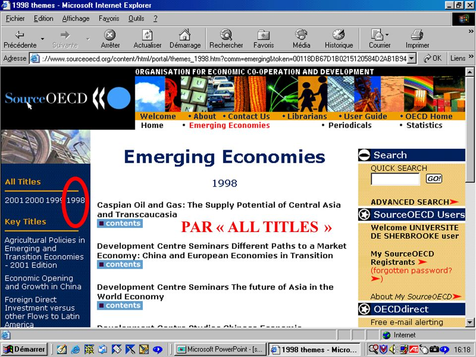 CREPUQ - Présentation de SourceOECD - 15 novembre 2001 41 PAR « ALL TITLES »
