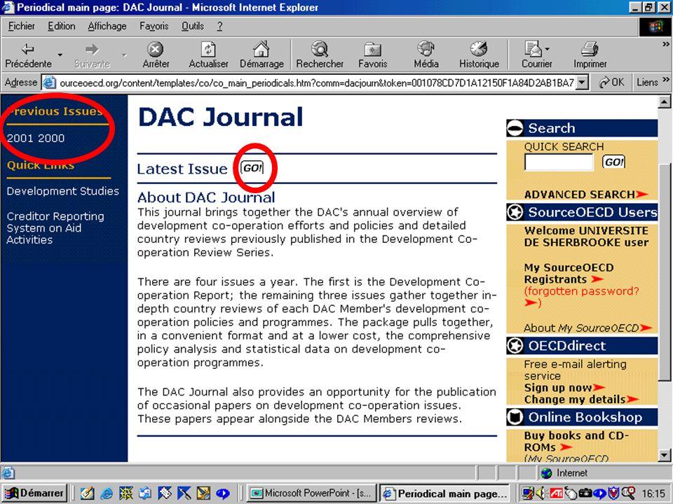CREPUQ - Présentation de SourceOECD - 15 novembre 2001 44