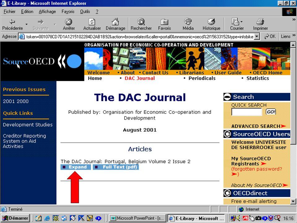 CREPUQ - Présentation de SourceOECD - 15 novembre 2001 45