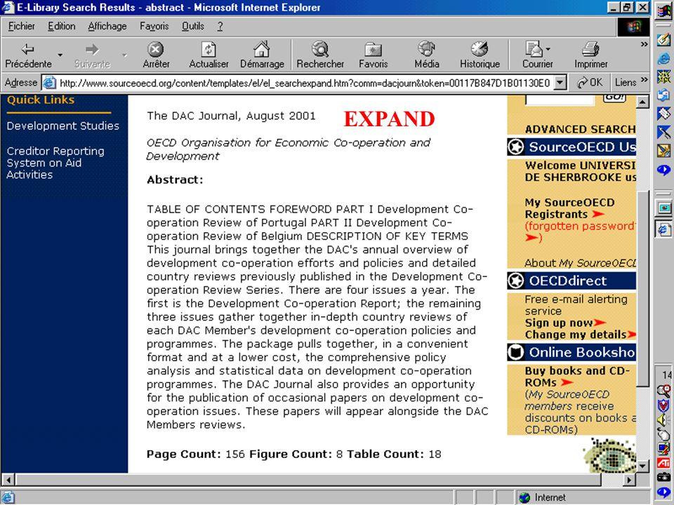 CREPUQ - Présentation de SourceOECD - 15 novembre 2001 46 EXPAND
