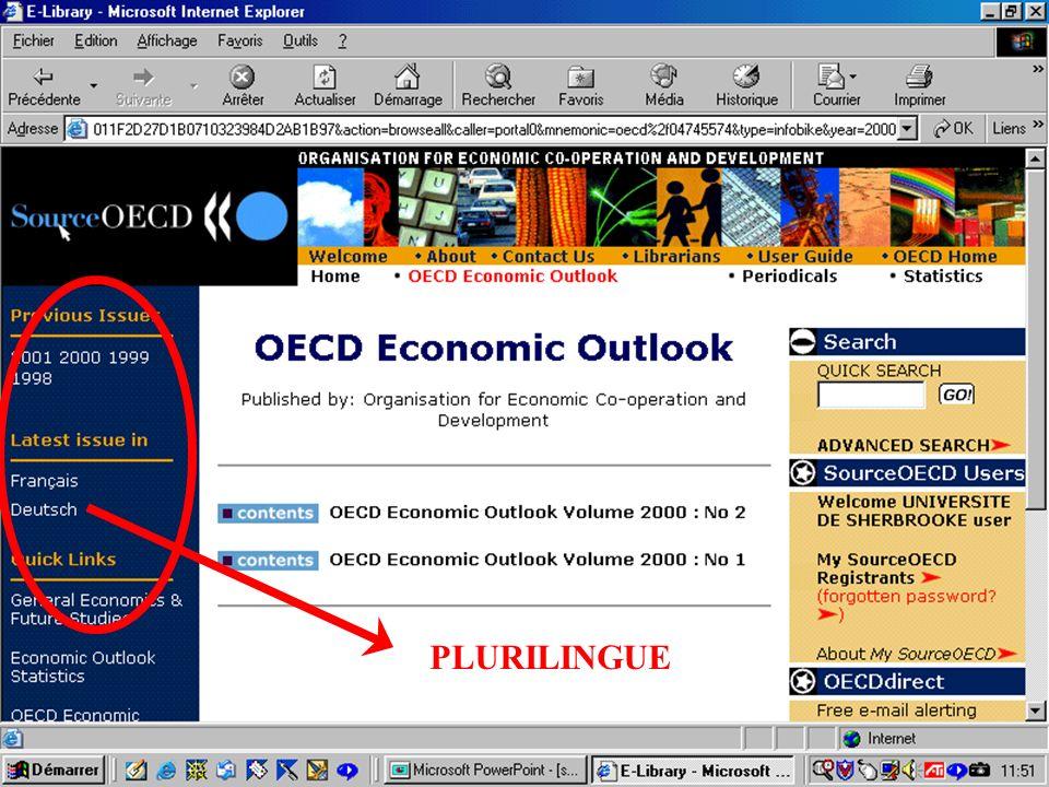 CREPUQ - Présentation de SourceOECD - 15 novembre 2001 48 PLURILINGUE