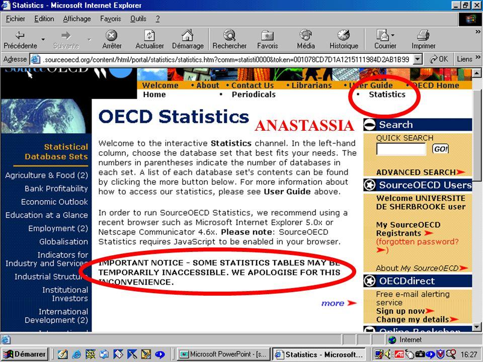CREPUQ - Présentation de SourceOECD - 15 novembre 2001 49 ANASTASSIA