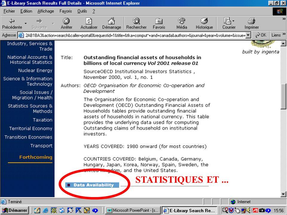 CREPUQ - Présentation de SourceOECD - 15 novembre 2001 53 STATISTIQUES ET...