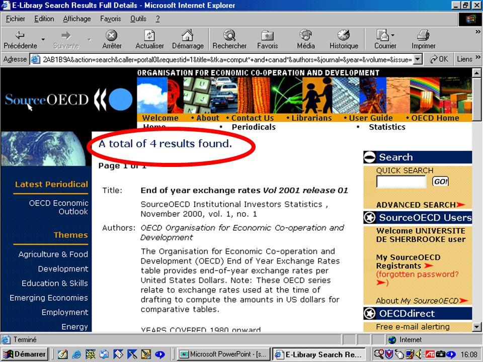 CREPUQ - Présentation de SourceOECD - 15 novembre 2001 56