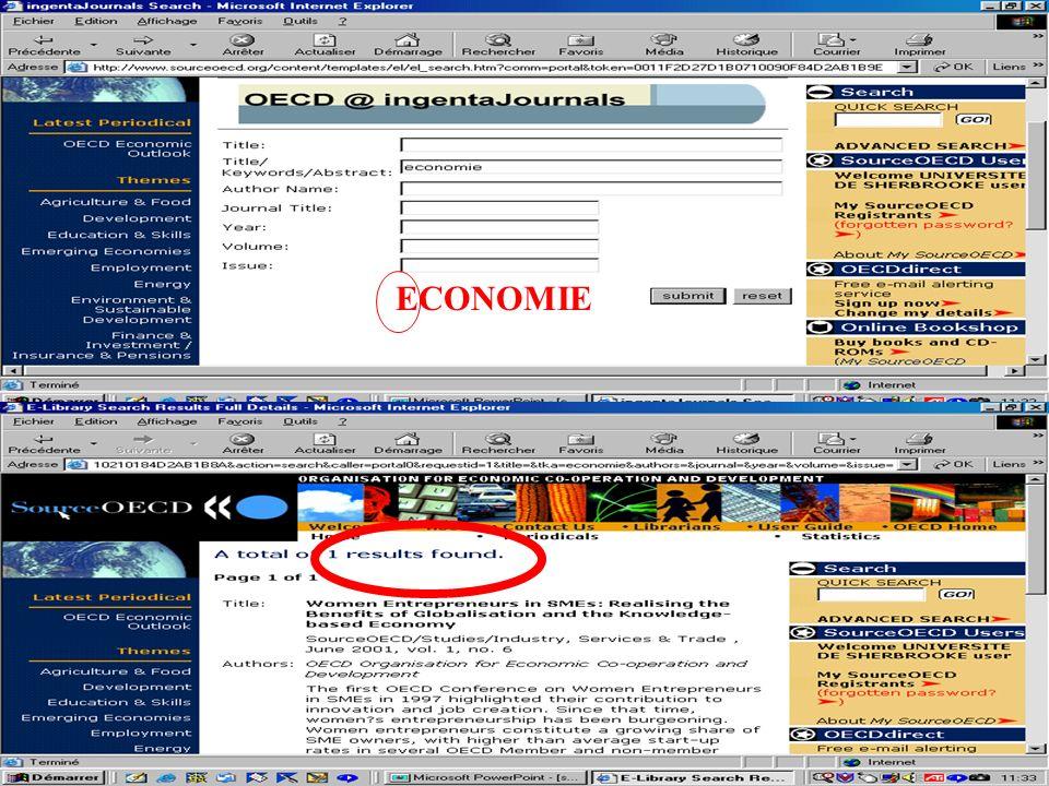 CREPUQ - Présentation de SourceOECD - 15 novembre 2001 58 ECONOMIE