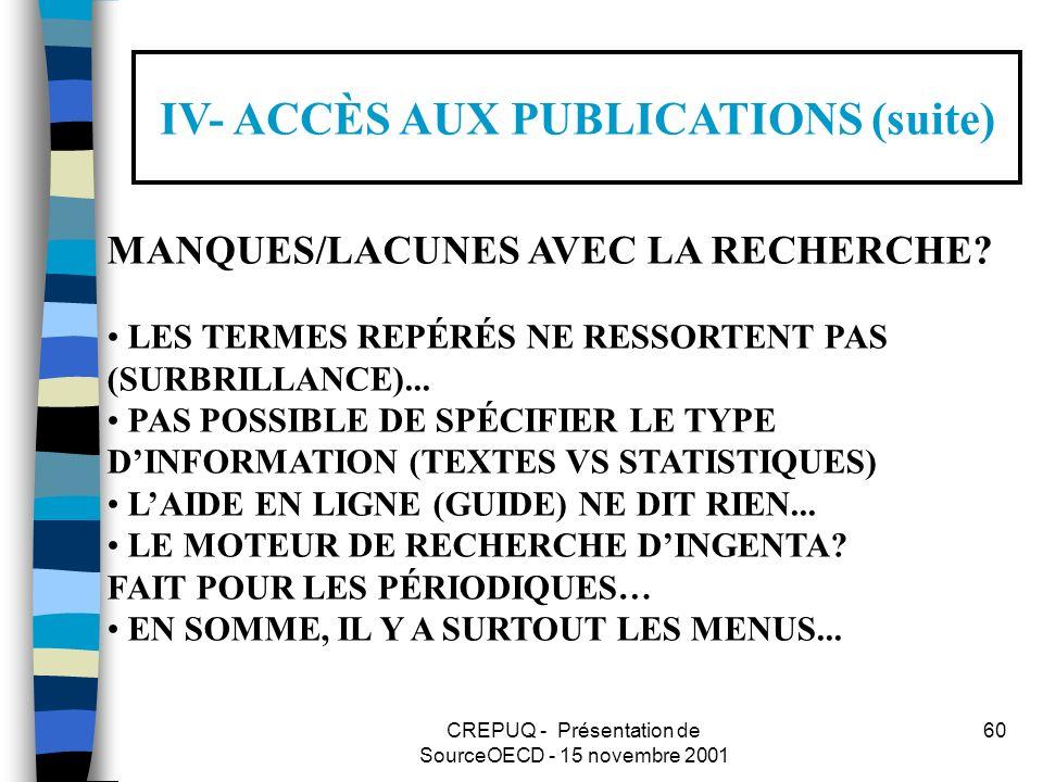 CREPUQ - Présentation de SourceOECD - 15 novembre 2001 60 IV- ACCÈS AUX PUBLICATIONS (suite) MANQUES/LACUNES AVEC LA RECHERCHE.